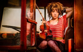 girl, musicians, Lindsey Stirling, brunette, looking at viewer, violin