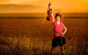 girl, musicians, sunset, violin, Lindsey Stirling, field