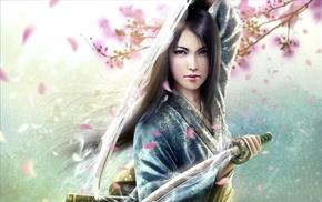 girl, artwork, katana, sword