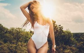 one, piece swimsuit, blonde, Sean Gold, girl, Sun