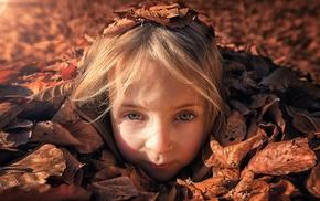 dry, children, blue eyes, leaves, blonde