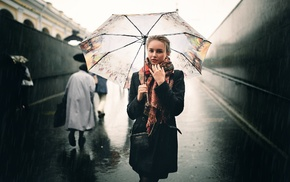 umbrella, girl, rain, blonde