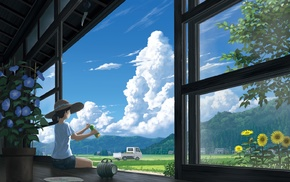 Truck, flowers, anime girls, original characters, clouds