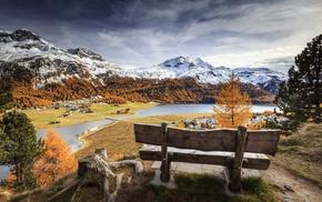 landscape, bench, mountain