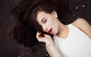 brunette, girl, lying down, open mouth, Ivan Gorokhov, long hair