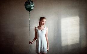 girl, redhead, walls, balloons, Georgiy Chernyadyev, freckles