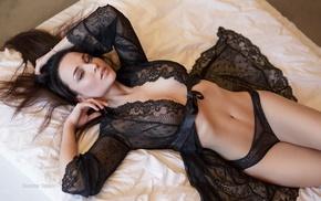 black lingerie, girl, in bed, Guenter Stoehr, Angelina Petrova, model