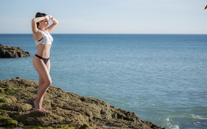 sea, bikini, looking away, pierced navel, girl, Nico Arnoldi