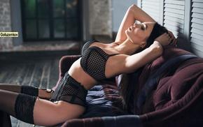 girl, Andrew Goluzenkov, black lingerie, closed eyes, stockings, black stockings