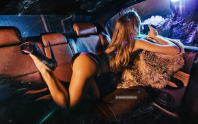 ass, blonde, girl, girl with cars, legs up, high heels