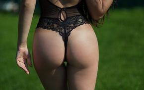 back, ass, girl, black lingerie