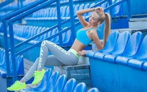 blonde, sneakers, girl, flat belly, sitting, closed eyes