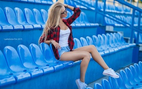 T, shirt, jean shorts, girl with glasses, girl, blonde