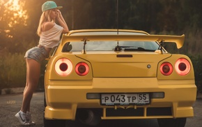 sneakers, blonde, baseball caps, girl with cars, jean shorts, girl