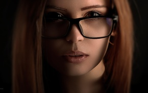 face, girl, girl with glasses, closeup