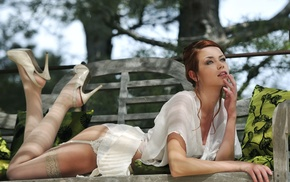 heels, girl outdoors, bench, girl, model