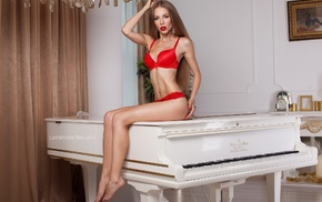 red lingerie, Christine Mokrousova, sitting, girl, blonde, pierced navel
