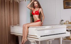 red lingerie, Christine Mokrousova, sitting, girl, blonde, pierced navel
