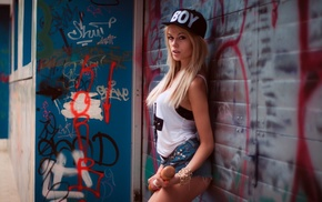 T, shirt, walls, baseball caps, Daria Valentinovna, girl