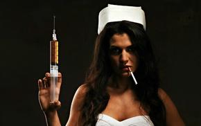 nurses, cigarettes, needles, girl, model