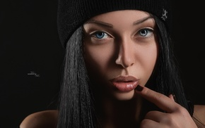 girl, black background, closeup, blue eyes, face