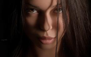 closeup, face, girl, brown eyes