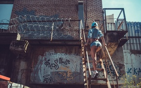 sneakers, back, girl, ladders, denim, jean shorts