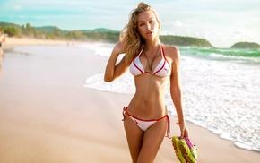 sand, blonde, bikini, sea, portrait, girl