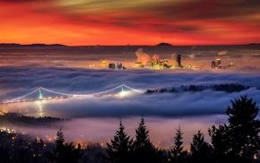 sunrise, city, cityscape, mist, San Francisco