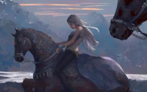 white hair, mountain, WLOP, horse