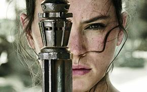 actress, Star Wars, long hair, green eyes, face, girl