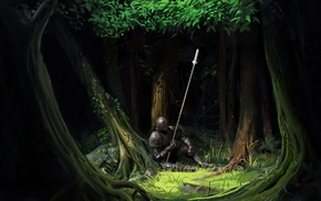 armor, trees, knight, artwork, spear, fantasy art