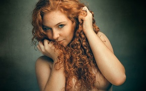 redhead, face, strategic covering, freckles, model, girl
