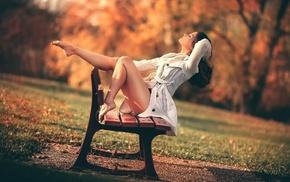 barefoot, girl outdoors, bench, girl, model