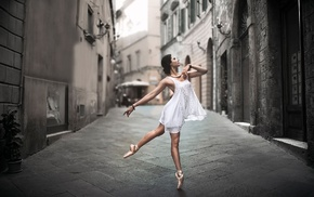 girl, street, white dress, dancers, ballerina