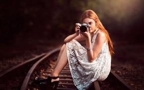 railway, camera, depth of field, girl, girl outdoors, legs