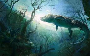 nature, UFO, underwater, painting, crocodiles, animals