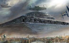painting, Star Wars, Star Destroyer, spaceship, TIE Fighter