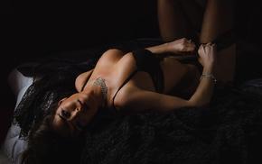 stockings, in bed, girl, black stockings, black lingerie