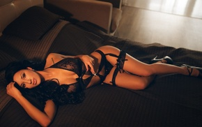 in bed, lingerie, garter belt, girl, model