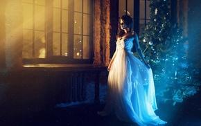 model, Christmas Tree, girl