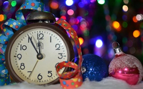 Christmas ornaments, bokeh, winter, clocks, depth of field, colorful