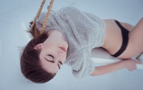 ropes, girl, black panties, panties, Fedor Shmidt, closed eyes