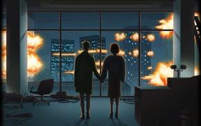 artwork, Fight Club, explosion, movies