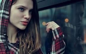 red, blue eyes, red lipstick, girl, model, hoods