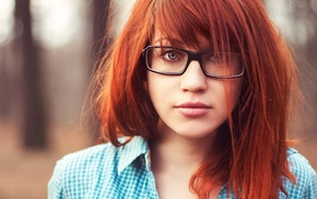 glasses, girl, redhead, face