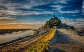 castle, road, Mont Saint, Michel