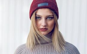 Furkan Gnal, portrait, girl, face, blonde