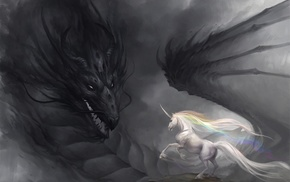 dragon, unicorns
