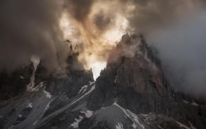 landscape, spring, Dolomites mountains, Italy, mountain, nature